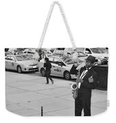 The Saxman In Black And White Weekender Tote Bag