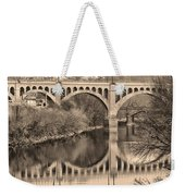 The Schuylkill River And Manayunk Bridge In Sepia Weekender Tote Bag