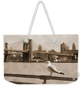 The Seagull Of The Brooklyn Bridge Vintage Look Weekender Tote Bag