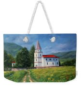 The Sunny Road Landscape With Field And Church Weekender Tote Bag