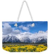 The Teton Mountain Range In The Spring Grand Teton National Park Weekender Tote Bag