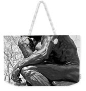 The Thinker In Black And White Weekender Tote Bag