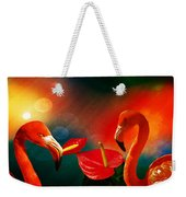 The Three Flamingos - Featured In 'feathers And Beaks' 'wildlife' And 'comfortable Art'  Groups Weekender Tote Bag