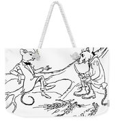 The Town Mouse And The Country Mouse Weekender Tote Bag by Arthur Rackham