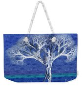 The Tree In Winter At Dusk - Painterly - Abstract - Fractal Art Weekender Tote Bag
