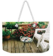 The Upper Deck With Stain Glass Table Weekender Tote Bag
