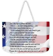 The U.s.a. Flag Poetry Art Poster Weekender Tote Bag by Stanley Mathis