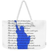The Usa Statue Of Liberty Poetic Art Poster Weekender Tote Bag by Stanley Mathis