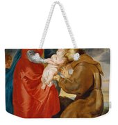 The Virgin Presents The Infant Jesus To Saint Francis Weekender Tote Bag