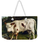 The White Calf Weekender Tote Bag by Gustave  Courbet