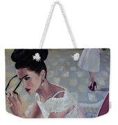 The White Lace Dress Weekender Tote Bag by Dorina  Costras