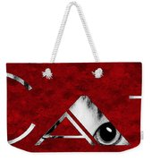 The Word Is Cat Bw On Red Weekender Tote Bag by Andee Design
