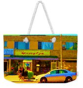 The Yangtze Chinese Food Restaurant On Van Horne Montreal Memories Cafe Street Scene Carole Spandau  Weekender Tote Bag