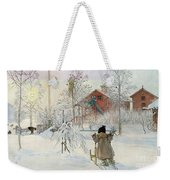 The Yard And Wash House Weekender Tote Bag by Carl Larsson