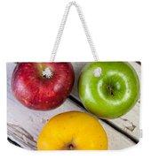 Thee Apples On A Table Weekender Tote Bag