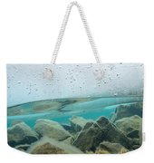 Thick Ice Sheet Underwater Over Rocky Lake Bottom Weekender Tote Bag