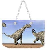 Three Argentinosaurus Dinosaurs Weekender Tote Bag by Elena Duvernay