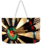 Three Arrows In The Centre Of A Dart Board Weekender Tote Bag