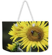Three Bees On A Sunflower Weekender Tote Bag