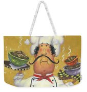 Three Bowl Chef On Gold Weekender Tote Bag