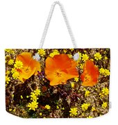 Three California Poppies Among Goldfields In Antelope Valley California Poppy Reserve Weekender Tote Bag
