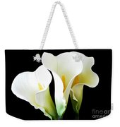 Three Calla Lilies On Black Weekender Tote Bag