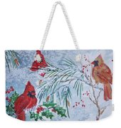 Three Cardinals In The Snow With Holly Weekender Tote Bag