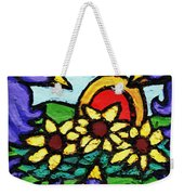 Three Crows And Sunflowers Weekender Tote Bag by Genevieve Esson