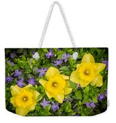 Three Daffodils In Blooming Periwinkle Weekender Tote Bag