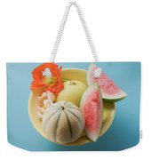 Three Different Melons In Bowl (overhead View) Weekender Tote Bag