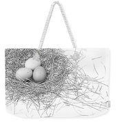 Three Eggs In A Nest Black And White Weekender Tote Bag