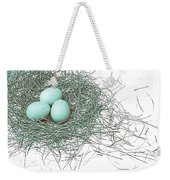 Three Eggs In A Nest Teal Brown Weekender Tote Bag