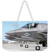 Three F-35b Lightning IIs At Marine Weekender Tote Bag