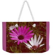 Three Flowers On Maroon Weekender Tote Bag