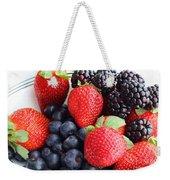 Three Fruit - Strawberries - Blueberries - Blackberries Weekender Tote Bag by Barbara Griffin