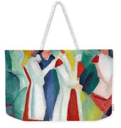 Three Girls With Yellow Hats Weekender Tote Bag