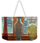 Three Glass Vases In A Window Weekender Tote Bag