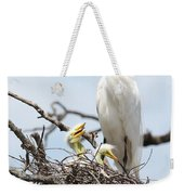 Three Great Egret Chicks In Nest Weekender Tote Bag by Carol Groenen