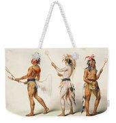Three Indians Playing Lacrosse Weekender Tote Bag