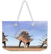 Three Kentrosaurus Dinosaurs Standing Weekender Tote Bag by Elena Duvernay