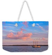 Three Masted Schooner At Anchor In The St Marys River Weekender Tote Bag