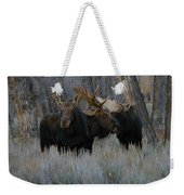Three Moose In The Woods Weekender Tote Bag