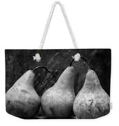Three Pear Still Life Black And White Weekender Tote Bag by Edward Fielding