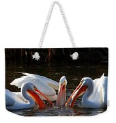 Three Pelicans And A Fish Weekender Tote Bag