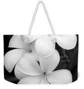 Three Plumeria Flowers In Black And White Weekender Tote Bag