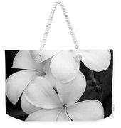 Three Plumeria Flowers In Black And White Weekender Tote Bag