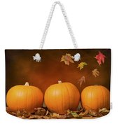 Three Pumpkins Weekender Tote Bag by Amanda Elwell