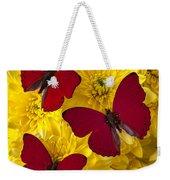 Three Red Butterflys Weekender Tote Bag by Garry Gay