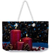 Three Red Candles In Snow  Weekender Tote Bag