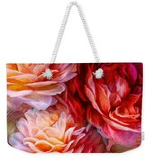 Three Roses Red Greeting Card Weekender Tote Bag